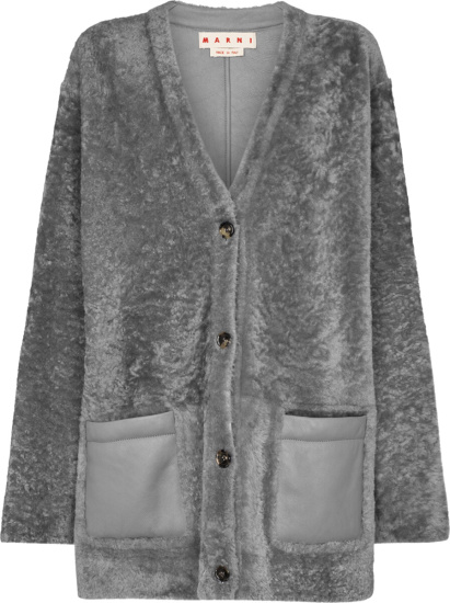 Marni Grey Oversized Shearling Cardigan