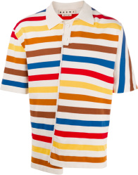 Marni Multicolor Striped Asymmetical Polo Shirt
