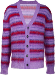 Marni Purple And Red Striped Cardigan