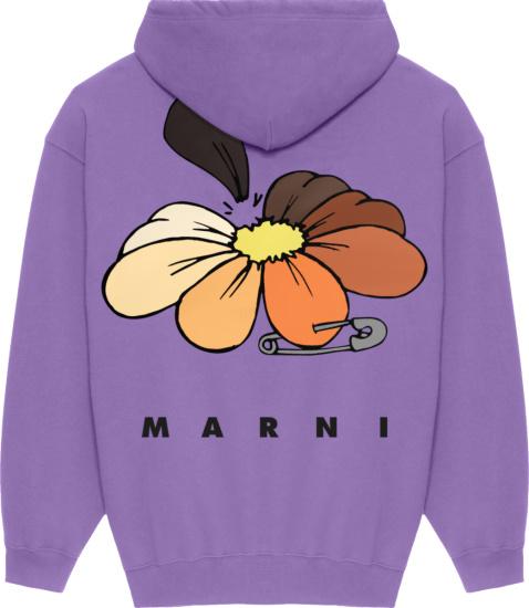 Marni Purple Floral Print Hoodie