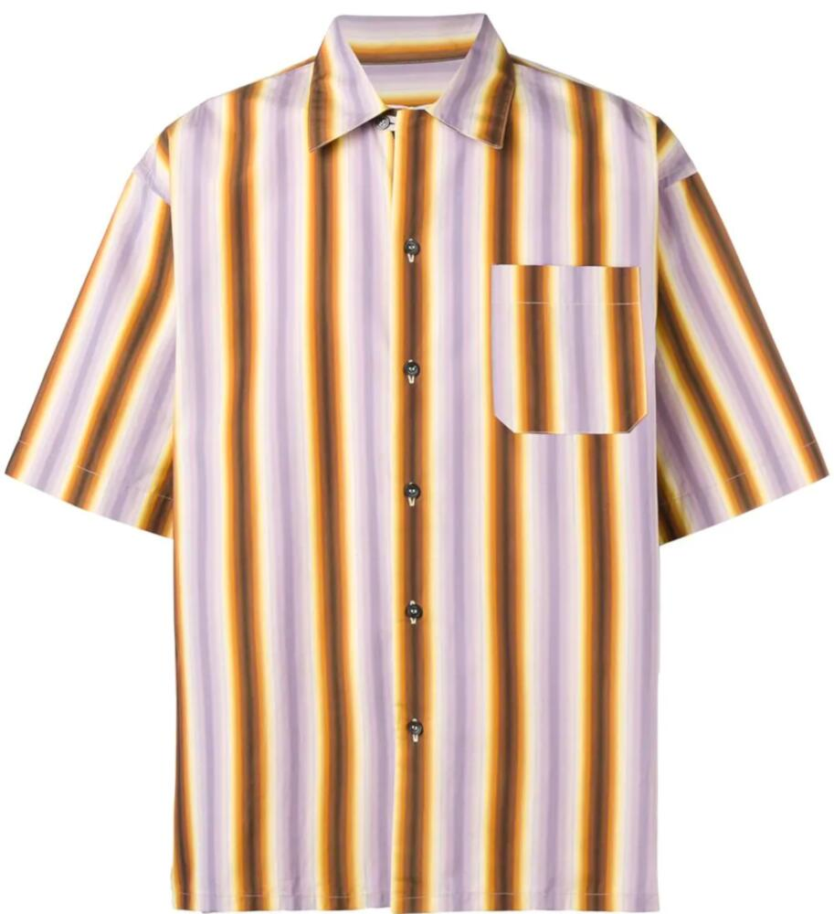 Marni Purple Orange And Brown Striped Shirt