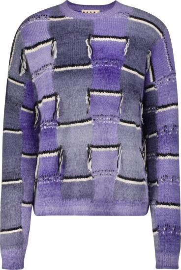 Marni Purple Patchwork Distressed Sweater