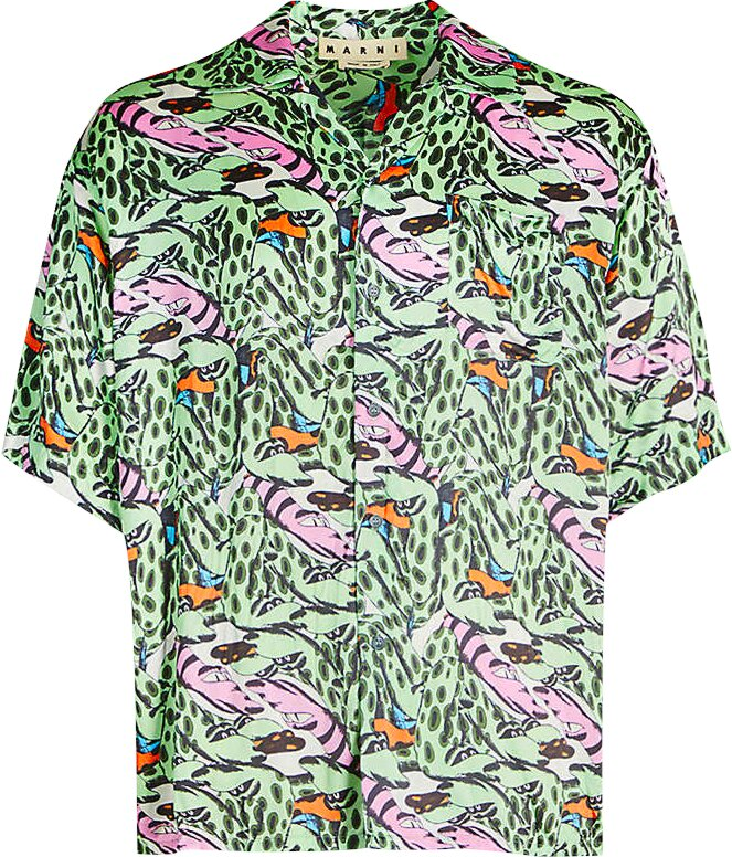 Marni Snake Print Green Shirt