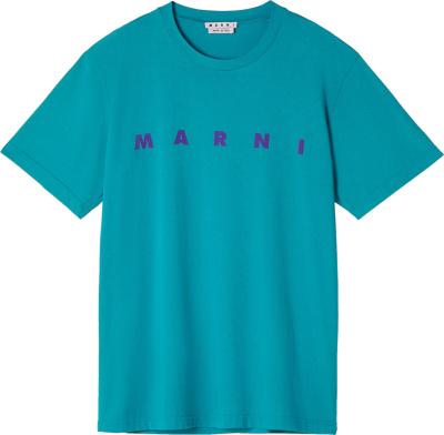 Marni Turquoise Logo Print T Shirt