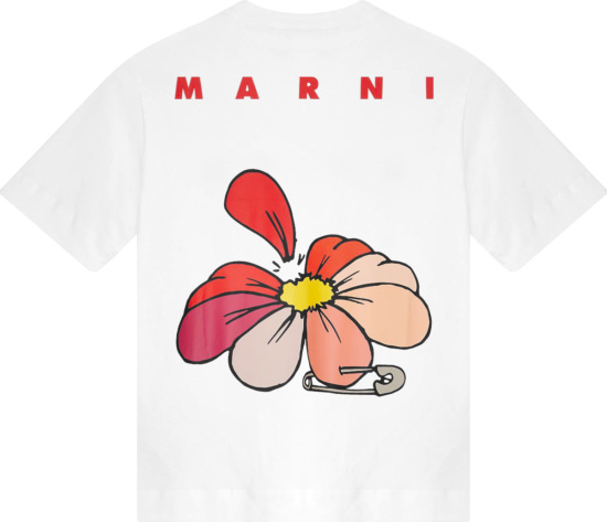 Marni White And Red Logo Flower T Shirt