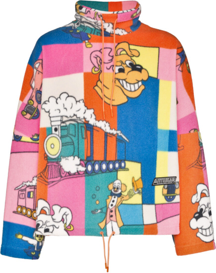 Martine Rose Cartoon Print Orange Fleece
