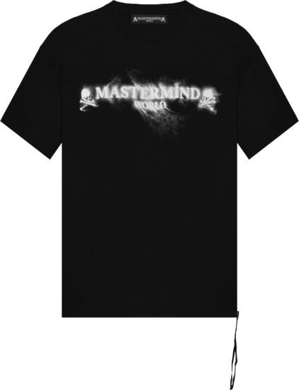 Mastermind World Black And White Smoke Logo Print T Shirt