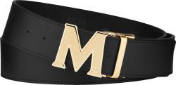 Mcm Black And Gold Buckle Belt