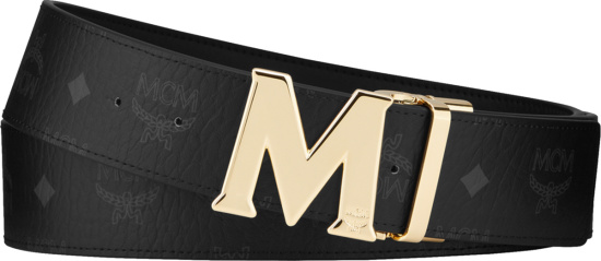 Mcm Black Monogram And Gold Claus M Buckle Belt