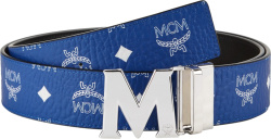 Mcm Blue And Silver Tone Claus Belt