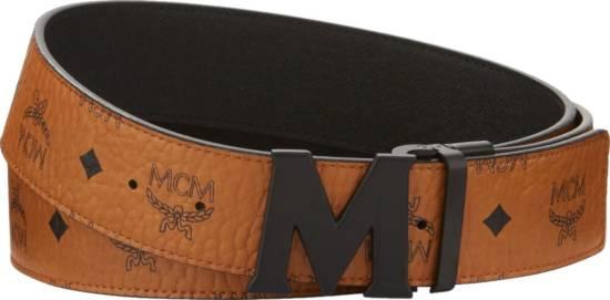 Mcm Matte Buckle Brown Leather Belt