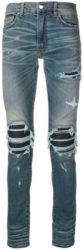 Black Leather Underpatch Indigo 'MX1' Jeans