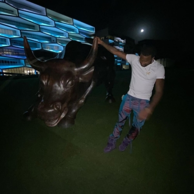 Meek Mill Grabs The Bull By The Horns In Iridescence Pants And Lv Purple Sneakers