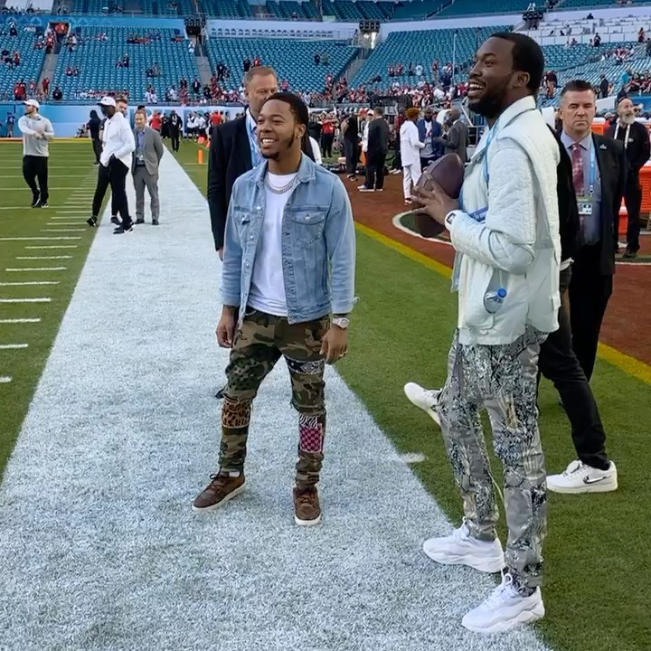 Meek Mill Plays Catch In A Craig Green Jacket Fog Pants And Puma Sneakers