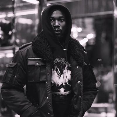 Meek Mill Wearing A Black Prada Bomber Jacket With A Black Represent Clo Hoodie