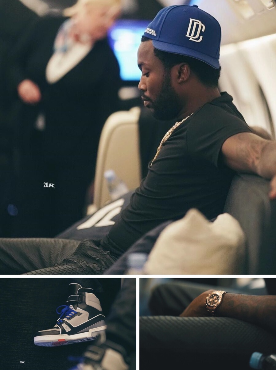 Meek Mill Wearing A Dc Hat With Amiri Snake Print Leather Pants And Rolexdaytona Watch