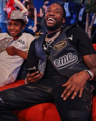 Meek Mill Wearing A Supreme X Vanson Leathers Vest With A Lanvin X Gallery Dept T Shirt