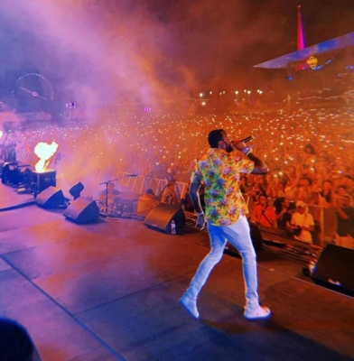 Meek Mill Wearing A Yellow Sss World Corp Hawaiian Shirt