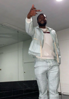 Meek Mill Wearing Craig Green Light Blue Quilted Jacket And Pants