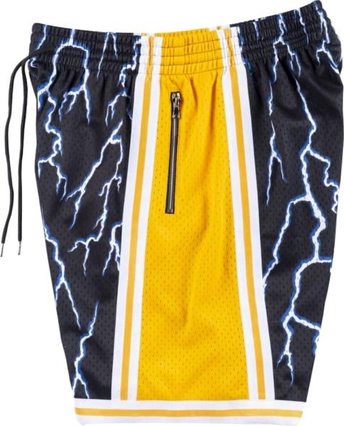 Mitchell And Ness La Lakers Lightning Print Shorts