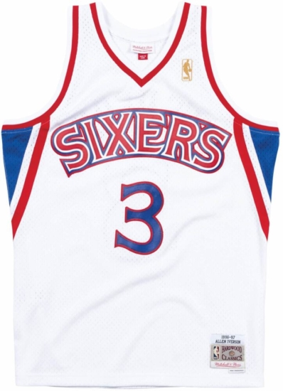 competitive price b5630 23400 Mitchell & Ness Philadelphia 76ers 1996 White Allen Iverson ...