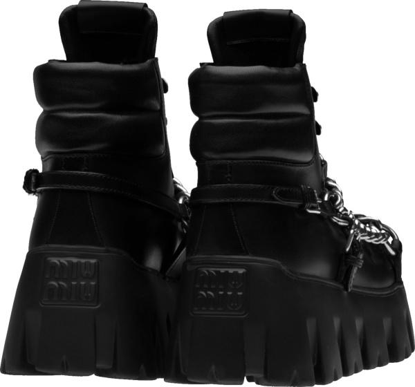 Miu Miu Black Chain Ankle Boots
