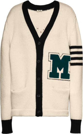 Miu Miu White Varsity Cardigan