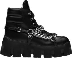 Miumiu Black Leather And Silver Chain Combat Boots