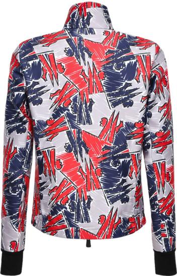 Moncler Allover Scribble Logo Grey Zip Jacket