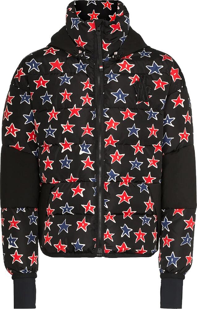 Allover Star Print Black Puffer Jacket