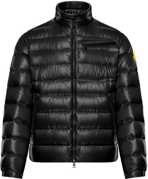 Moncler Black Amalthea Yellow Logo Puffer Jacket