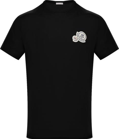 Moncler Black Double Logo Patch T Shirt