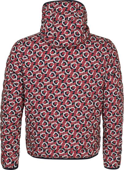 Moncler Black Red White Allover Logo Print Jacket