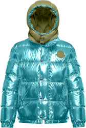 Moncler Genius Metallic Blue And Army Green Prele Puffer Jacket