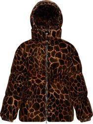 Moncler Giraffe Print Kundogi Velvet Puffer Jacket
