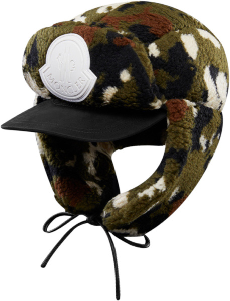 Moncler Green Camouflage Fleece Hat