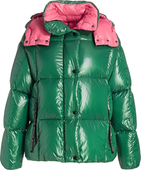 Moncler Green Pink Parana Pufffer Jacket