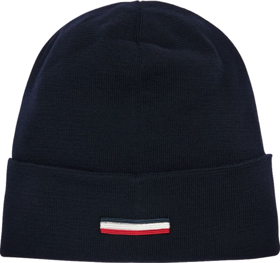Moncler Logo Plaque Navy Knit Hat