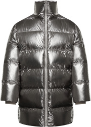 Moncler Metallic Silver Cyclopic Puffer Jacket