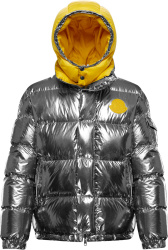 Moncler Metallic Silver And Yellow Prelle Puffer Jacket