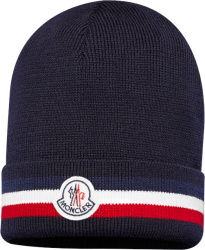 Moncler Navy And Tricolor Stripe Beanie