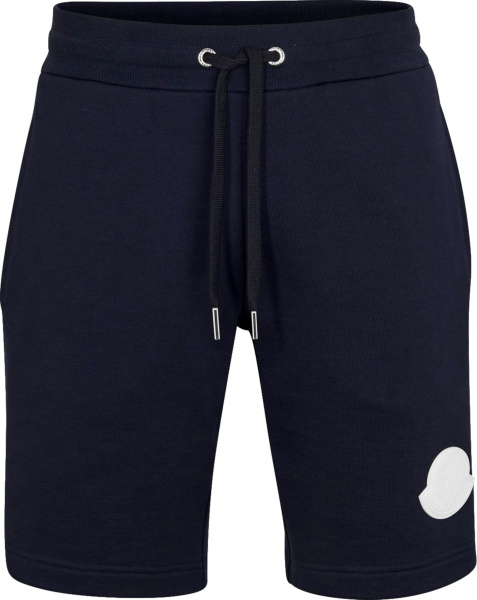 Moncler Navy And White Logo Patch Sweat Shorts
