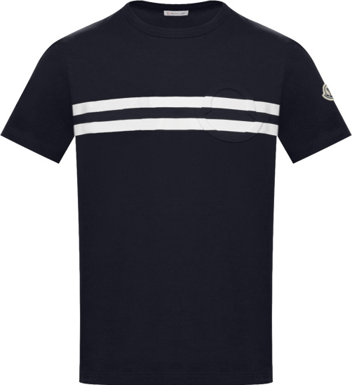 Moncler Navy And White Striped T Shirt G10918c7b8108390t