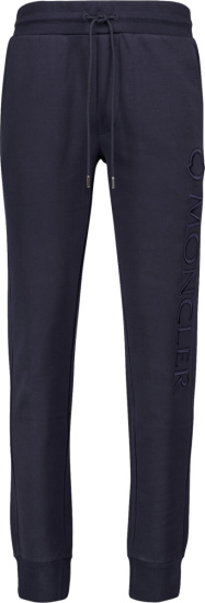 Moncler Navy Logo Embroidered Sweatpants
