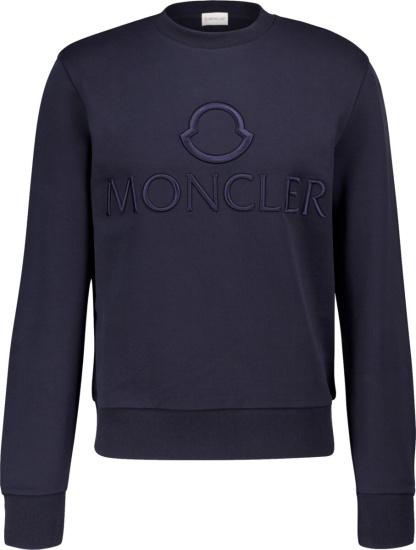Moncler Navy Logo Embroidered Sweatshirt