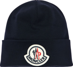 Moncler Navy Logo Patch Beanie