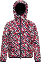 Moncler Navy Red White Zois Allover Logo Puffer Jacket