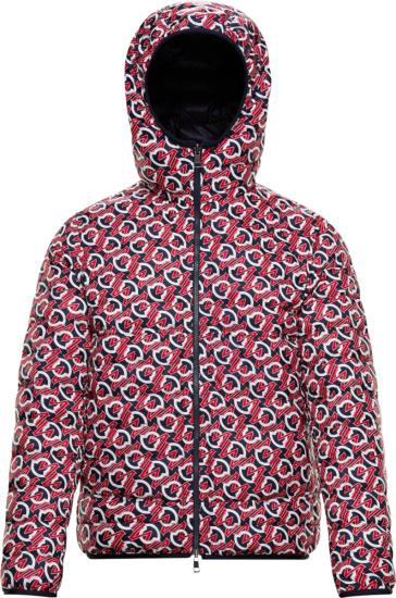 Moncler Navy Red White Zois Allover Logo Puffer Jacket