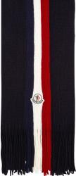 Moncler Navy Tricolor Fringe Scarf