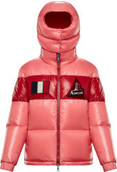 Moncler Pink And Red Stripe Gary Puffer Jacket